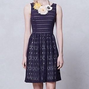 Postmark Sunstream Eyelet Lace Cutout Navy Dress L